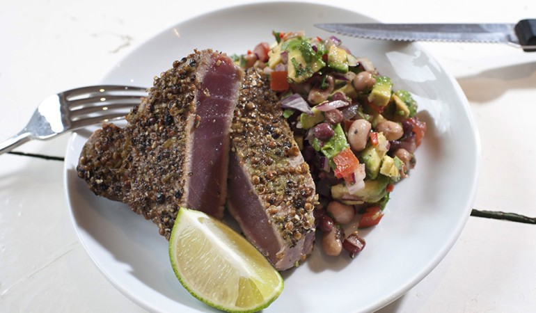 Katriona MacGregor's Recipes. Lime and coriander crusted tuna with a mixed bean salsa. 3rd March 2013