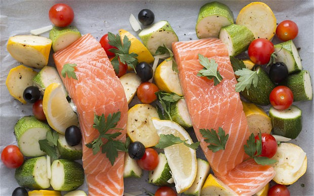 Garlic Roast Salmon with Courgettes and Olives
