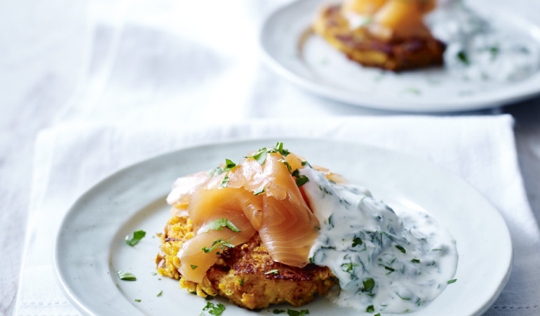 Smoked Salmon with Sweet Potato and Apple Röstis to Improve Your Gut Health
