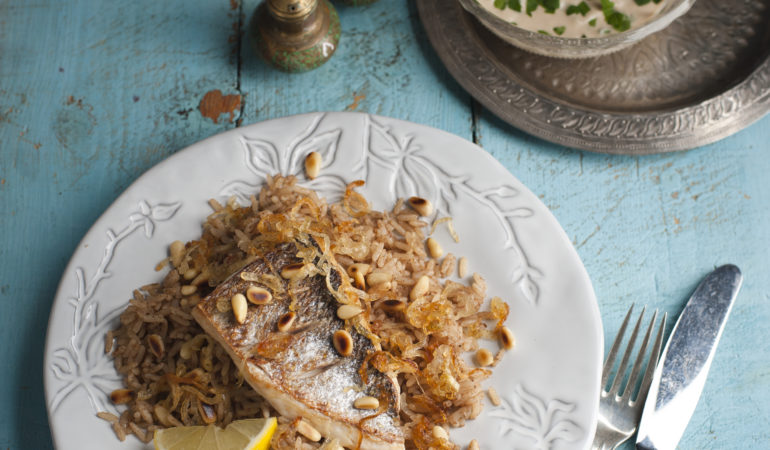 Sea Bass With Spiced Caramelized Onion Rice